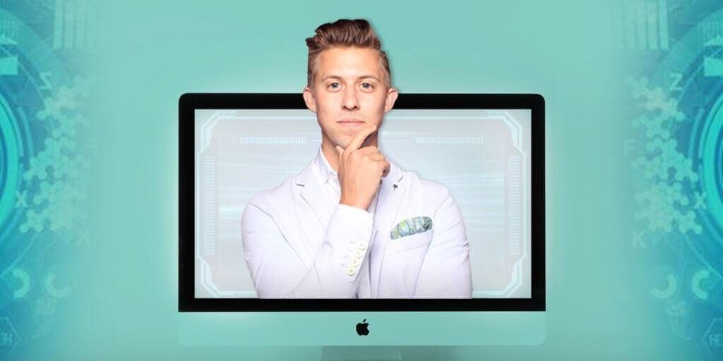 Medico che fuoriesce dallo schermo di un pc Apple